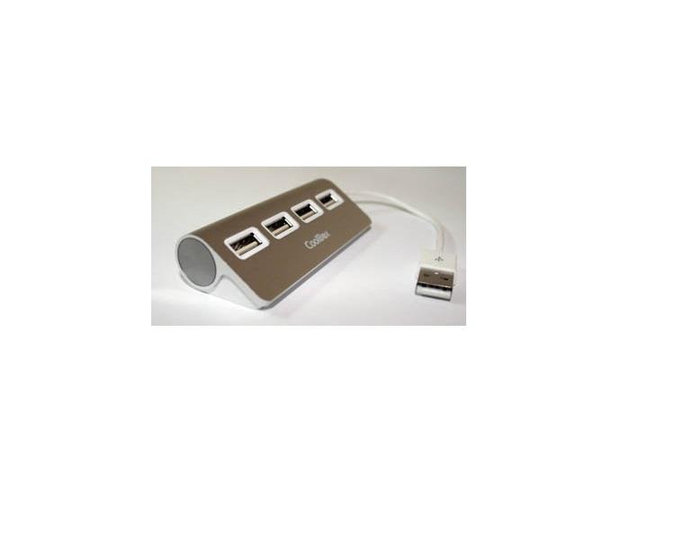 HUB 4 PUERTOS USB2.0 ALU-2 ALUMINIO COOLBOX