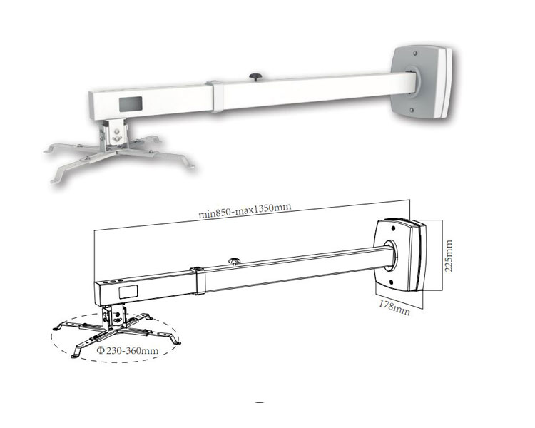 SOPORTE VIDEO-PROYECTOR PARED BLANCO(85-135) SV03P APPROX
