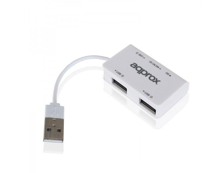 HUB 3 PUERTOS USB 2.0 + LECTOR TARJETAS WHITE APPROX