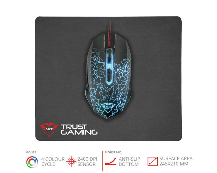 KIT GAMING RATON + ALFOMBRILLA GXT 783 TRUST