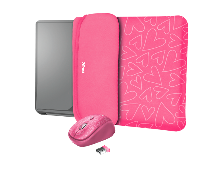 "FUNDA REVERSIBLE YVO 15.6"" + RATON WIRELESS PINK TRUST"