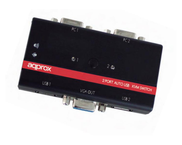 SWITCH KVM 2 PORT USB + AUDIO + CABLES APPROX