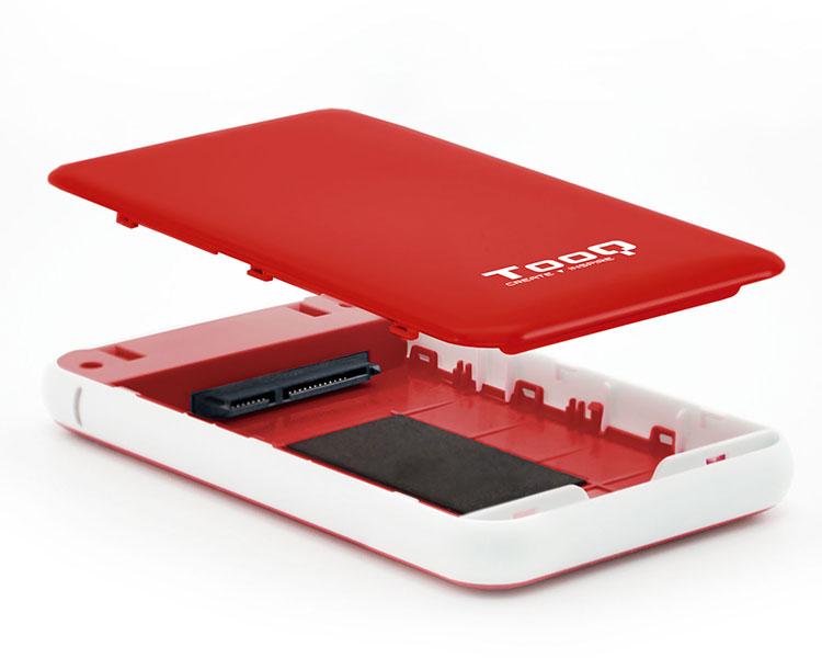 CAJA EXTERNA USB 2.5'' 9.5MM SATA ROJO TOOQ