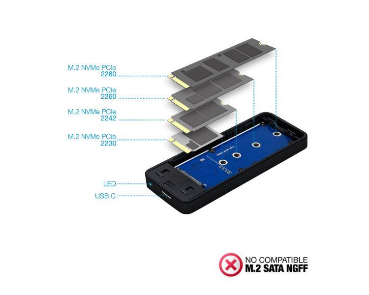 CAJA EXTERNA USB-C SSD M.2 NVMe PCIe BLACK TOOQ