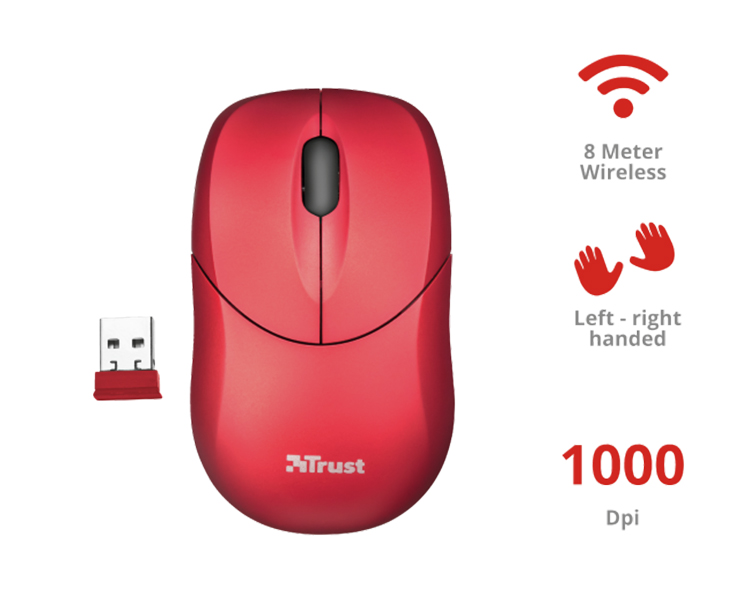 RATON OPTICO INU SMALL WIRELESS RED TRUST